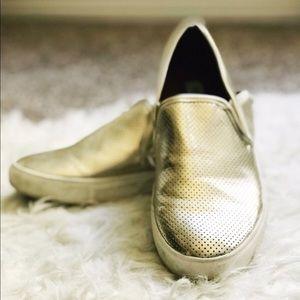 Gold Steve Madden Slip On Shoes